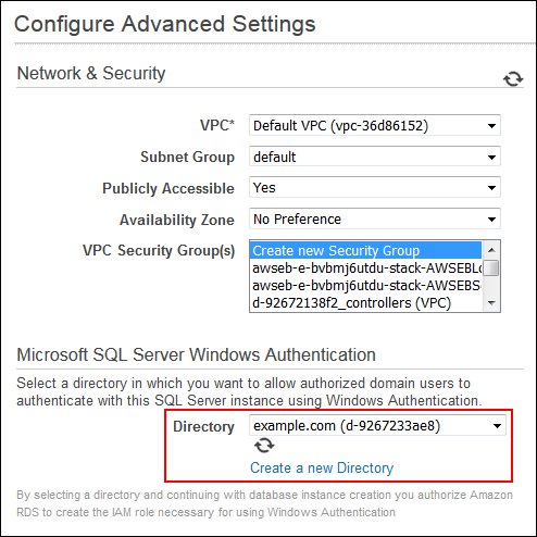 Screenshot of configuring advanced settings
