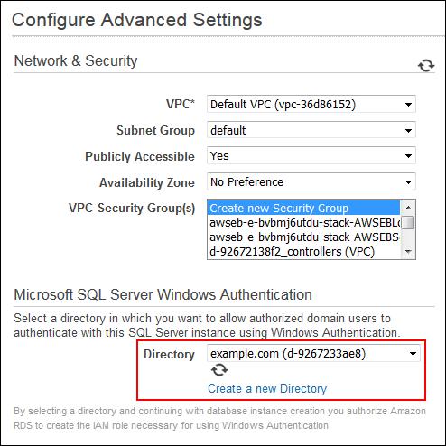 Screenshot of configuring advanced settings