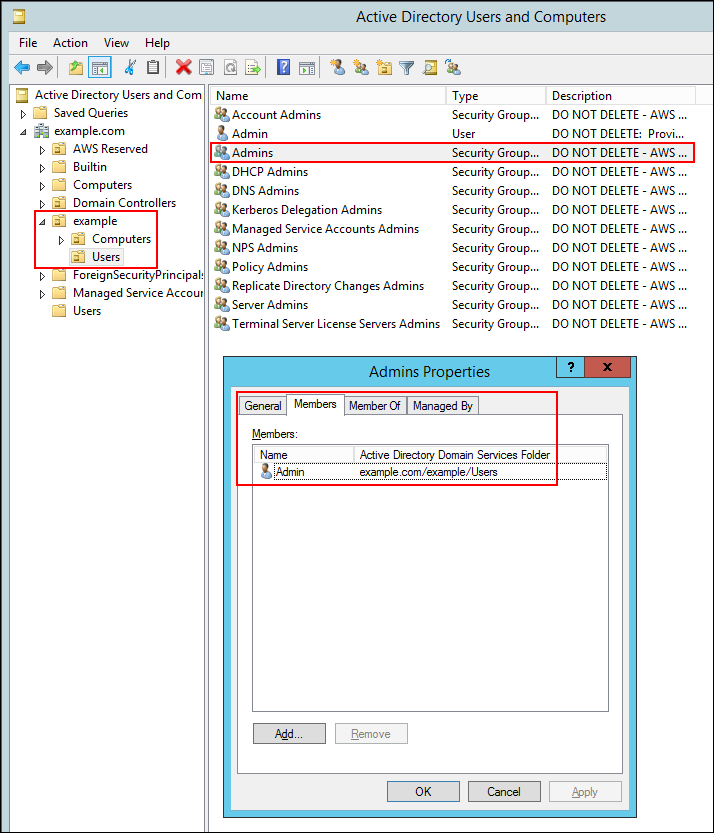 Screenshot of logging on to the instance on which you installed the Active Directory administration tools