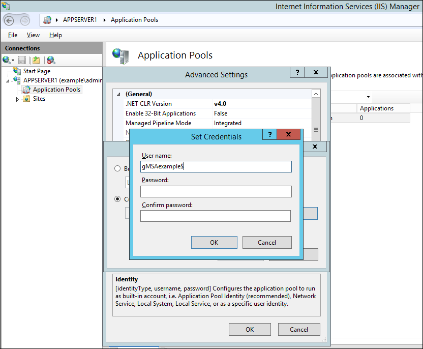Screenshot of configuring application pool identity