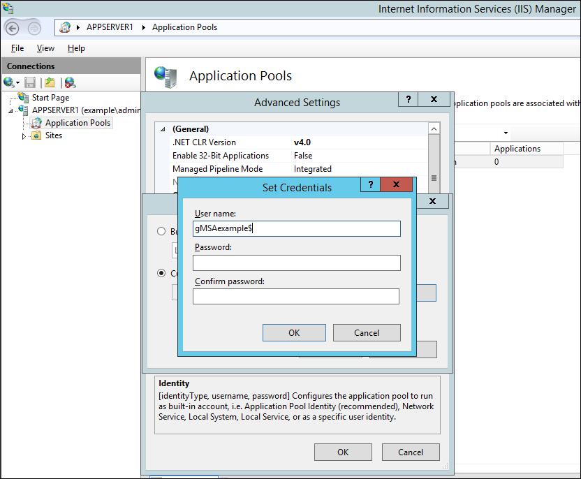 Screenshot of configuring application pool identity