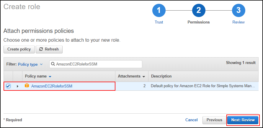 Screenshot of attaching the AmazonEC2RoleforSSM policy to the new role you are creating