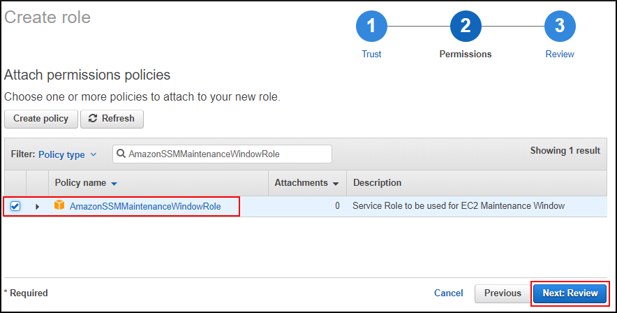 Screenshot of creating the new IAM role for Systems Manager