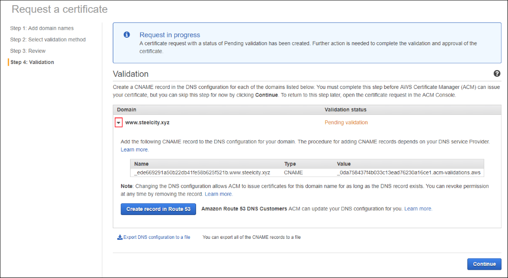 Screenshot of validation information