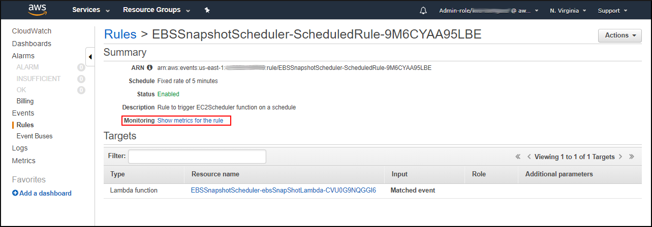 Screenshot of monitoring when EBS Snapshot Scheduler has run by choosing the name of the CloudWatch rule