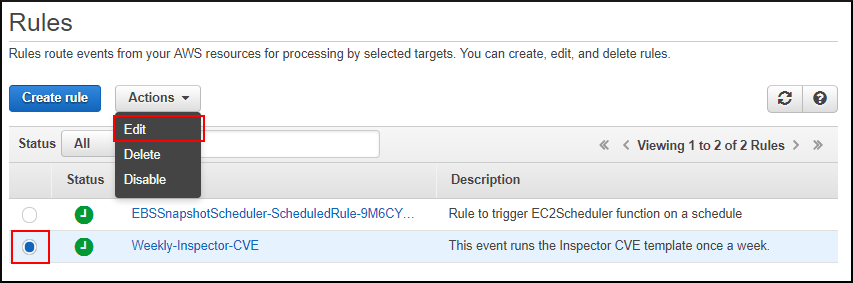 Screenshot of confirming the CloudWatch Events rule works