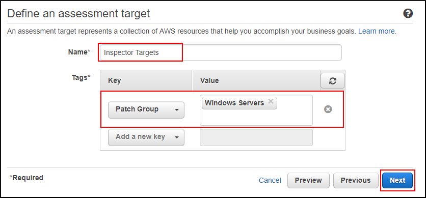Screenshot of defining the Amazon Inspector target