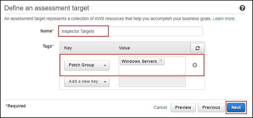 Screenshot of defining the Amazon Inspector target