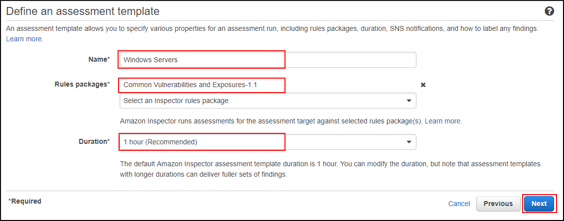 Screenshot of defining an assessment template