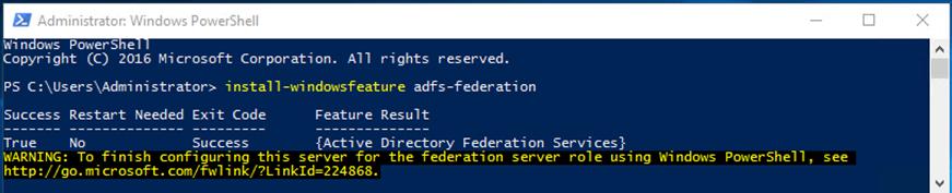 Screenshot of installing AD FS