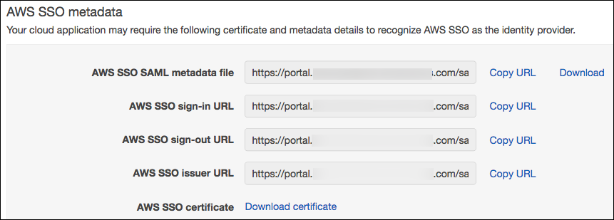 Screenshot of AWS SSO metadata