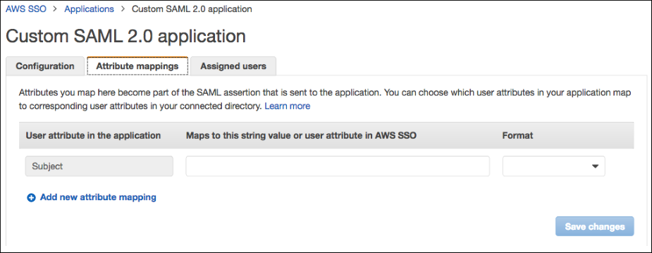 Screenshot of providing additional SAML attribute mappings