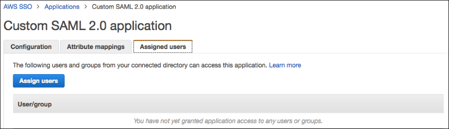 Screenshot of the Assigned users tab, where you choose a user or group that can access this application