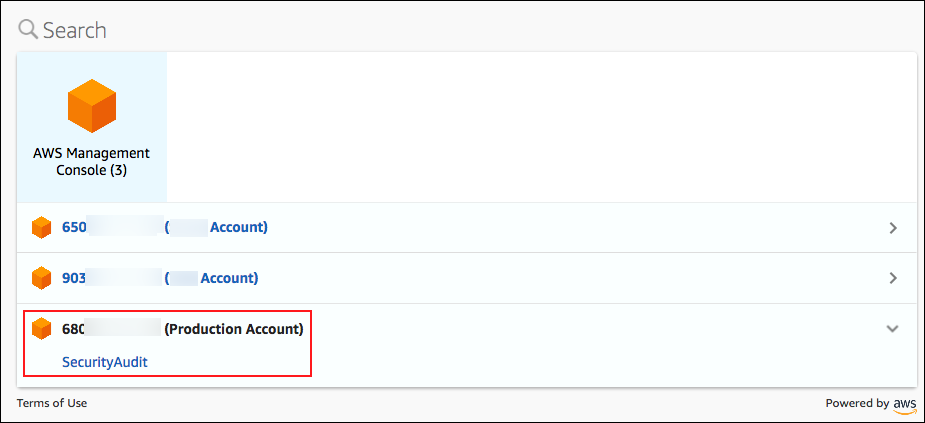 Screenshot showing that this user can sign in to the Production Account with SecurityAudit permissions