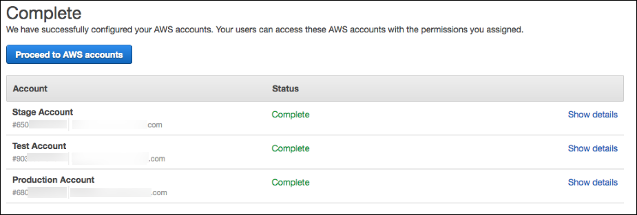 Screenshot showing that the AWS accounts have been configured successfully