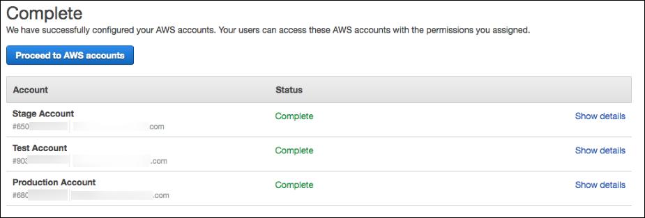AWS 계정이 성공적으로 구성되었음을 보여주는 스크린 샷