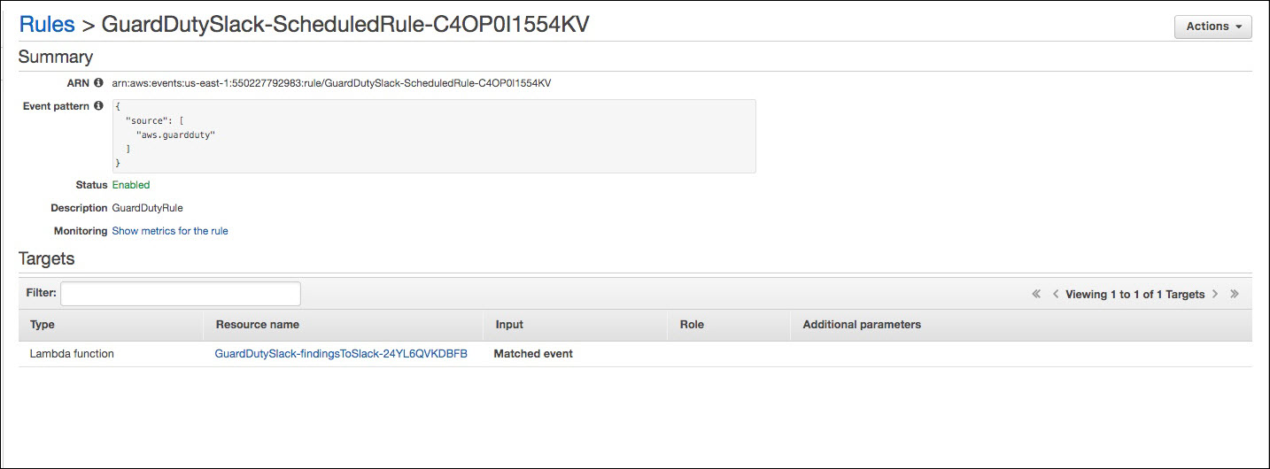 Screenshot of a CloudWatch Events rule
