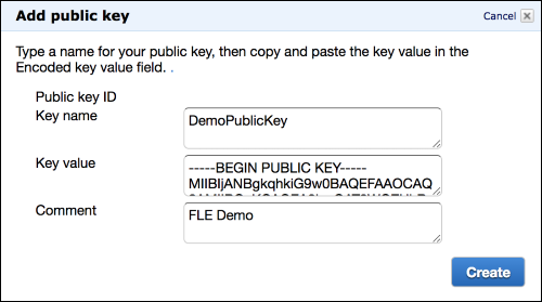Screenshot of adding a public key
