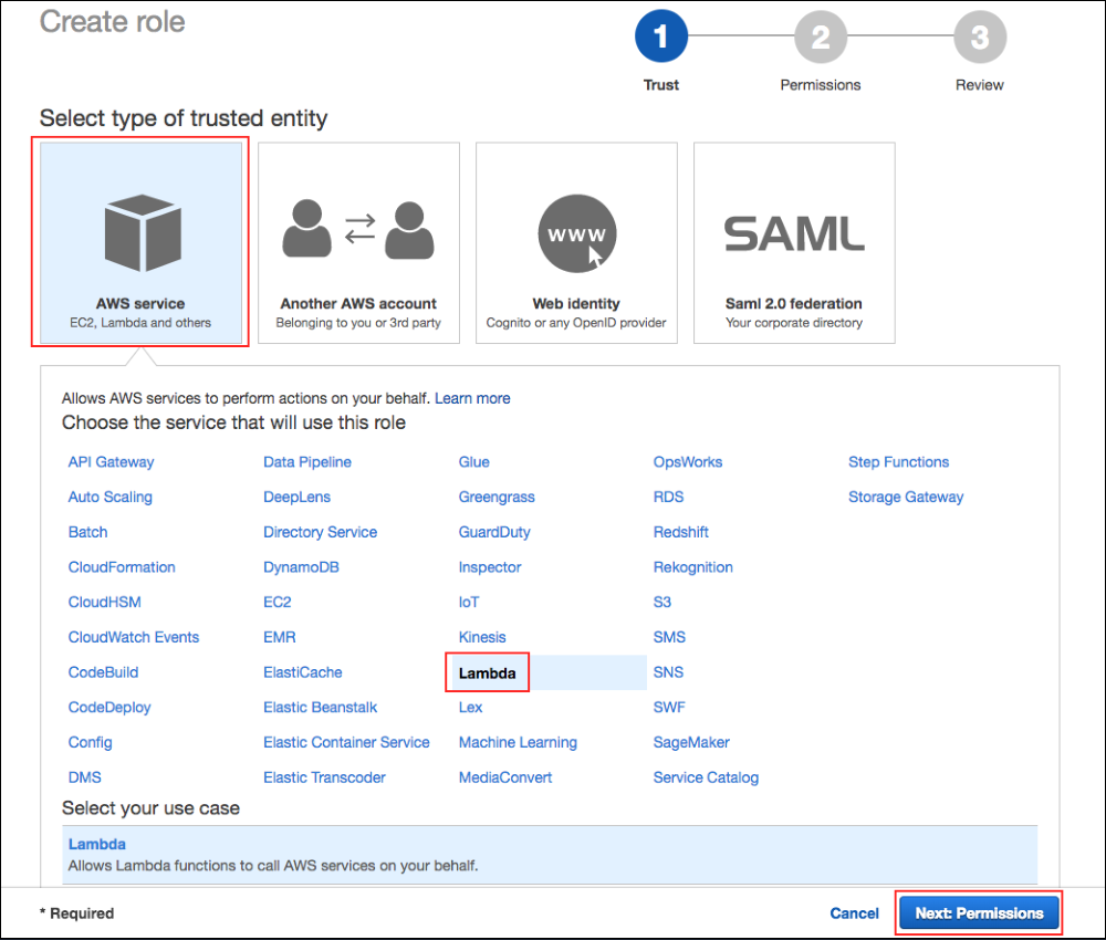 Screenshot of the first step in creating the IAM role