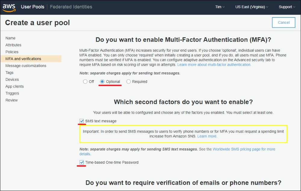 "Screenshot of the ""MFA and verifications"" tab"