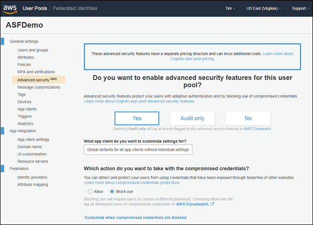 Screenshot of enabling advanced security features for a user pool