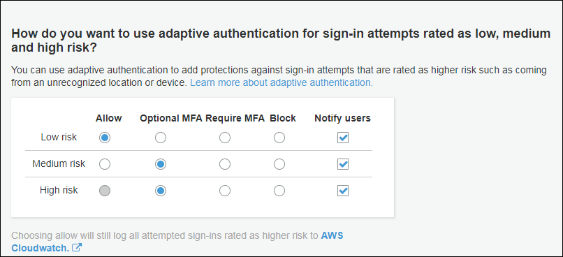 Screenshot of adaptive authentication configuration
