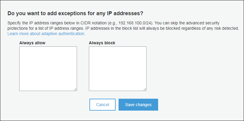 Screenshot of adding exceptions for IP addresses