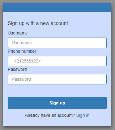 Screenshot of a sign-up page