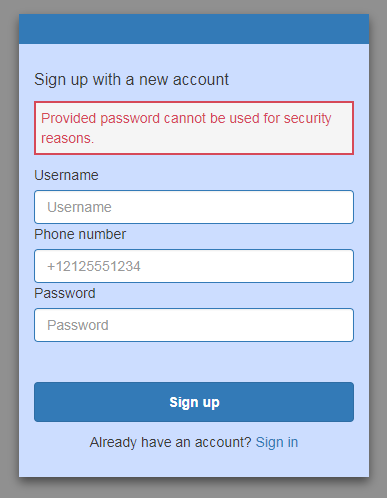 Screenshot showing compromised credentials being prevented from setting up a new account