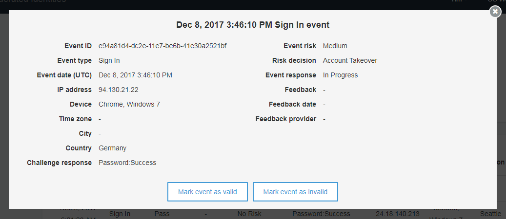 Screenshot of a specific sign-in event and the options to mark the event as valid or invalid