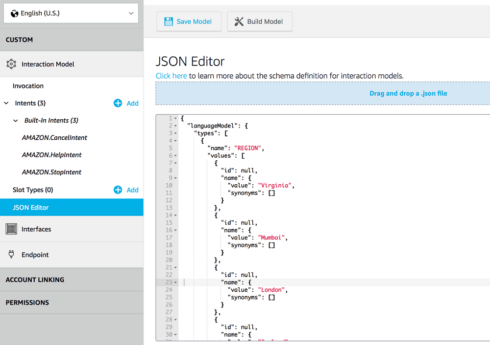 JSON Editor interface
