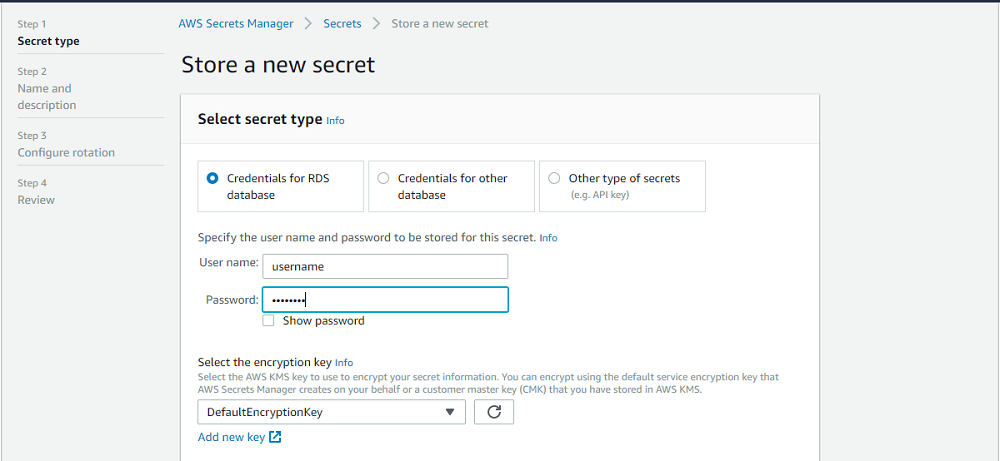 Store a new secret interface with Credentials for RDS database selected