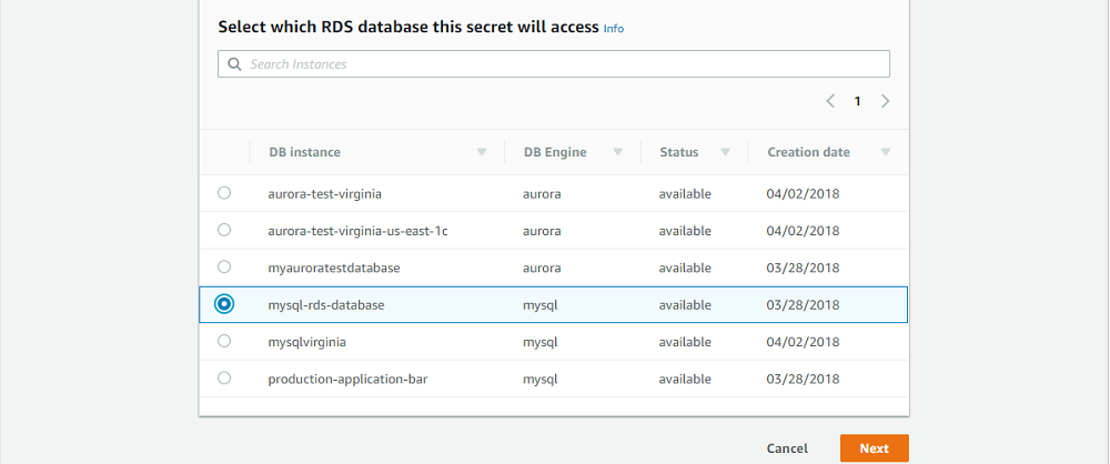 Select the RDS database interface