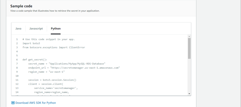 Python sample code