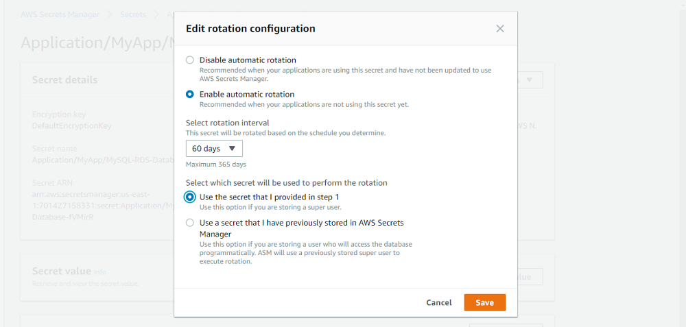 Select which secret to use in the Edit rotation configuration interface