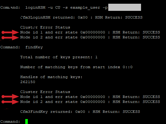 Showing that keys are properly synchronized across a 2-node CloudHSM cluster