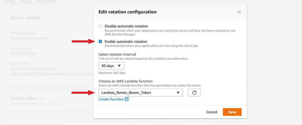 "Figure 17: ""Edit rotation configuration"" options"