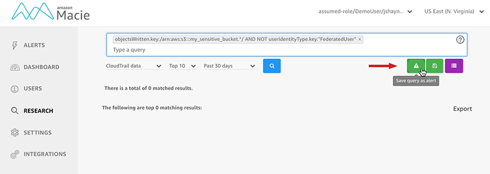 """Figure 2: Select the """"Save query as alert"""" icon"""