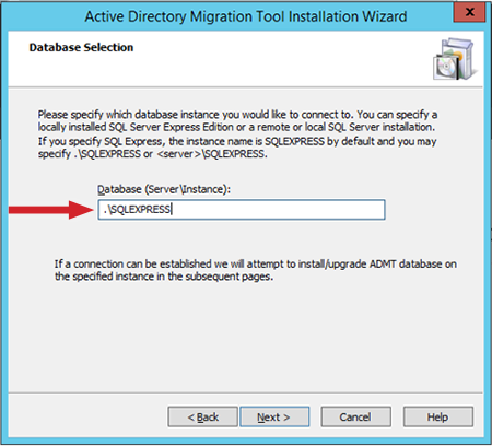 "Figure 4: Specify the ""Database (Server\Instance)"""