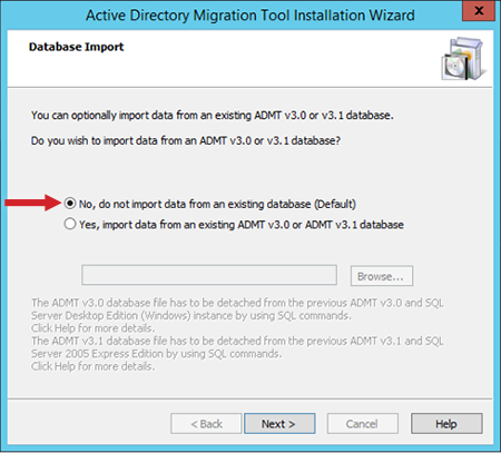 "Figure 5: The ""Database Import"" dialog box"