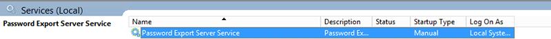 Figure 6: Start the Password Export Server Service