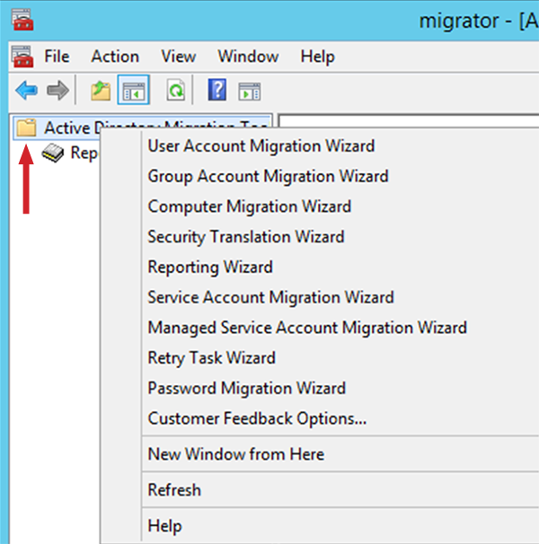 Figure 7: List of migration options