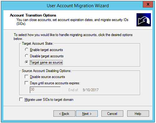 "Figure 8: The ""Account Transition Options"" dialog"