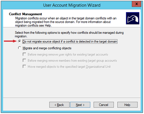 "Figure 10: The ""Conflict Management"" dialog box with the ""Do not migrate source object..."" option selected"
