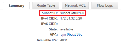 "Figure 5: The ""Subnet ID"" value on the ""Summary"" tab"