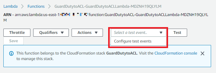 "Figure 8: Select ""Configure test events"" from the drop-down list"