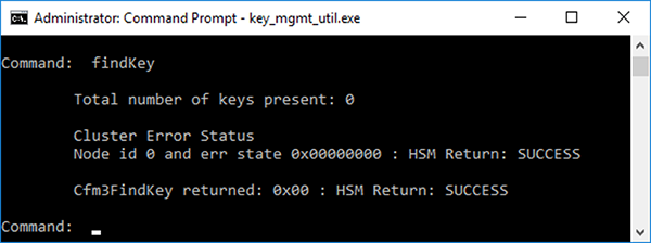Figure 5: findKey output showing no keys present