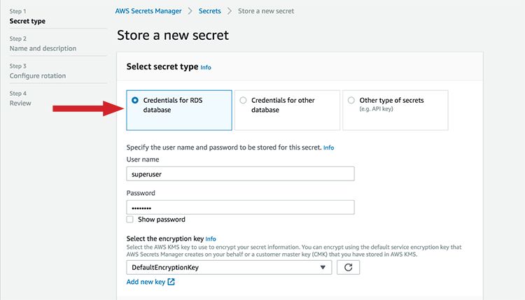 "Figure 1: For ""Select secret type,"" choose ""Credentials for RDS database"""
