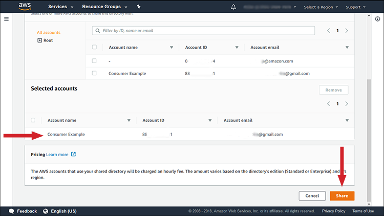 """Figure 4: Selected accounts and the """"Share"""" button"""