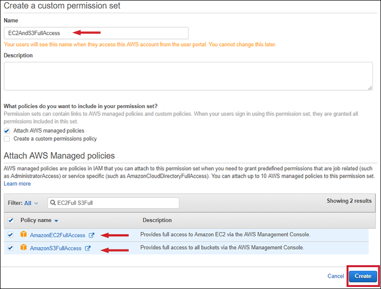 Figure 10: Attaching AWS managed policies to your permission set